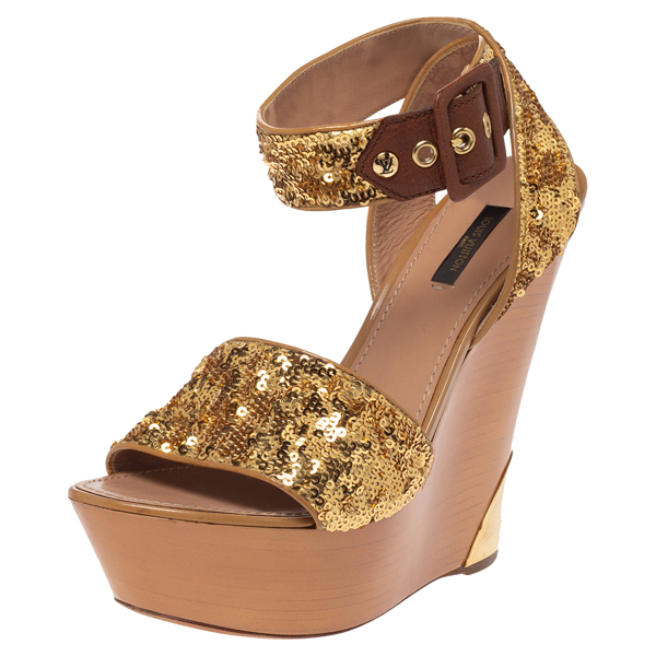 Pre-owned Louis Vuitton Metallic Gold Sequin Embellished Wedge Platform Ankle Strap Sandals Size 38.5