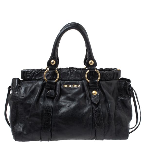 Pre-owned Miu Miu Black Vitello Leather Gathered Tote