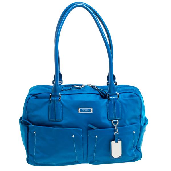 Pre-owned Tumi Azure Blue Nylon Double Pocket Duffel Bag