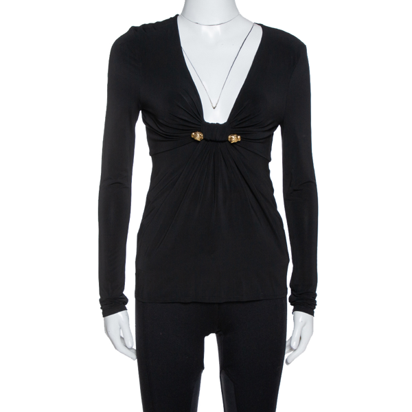 Pre-owned Roberto Cavalli Black Jersey Gathered Brooch Detail Top S