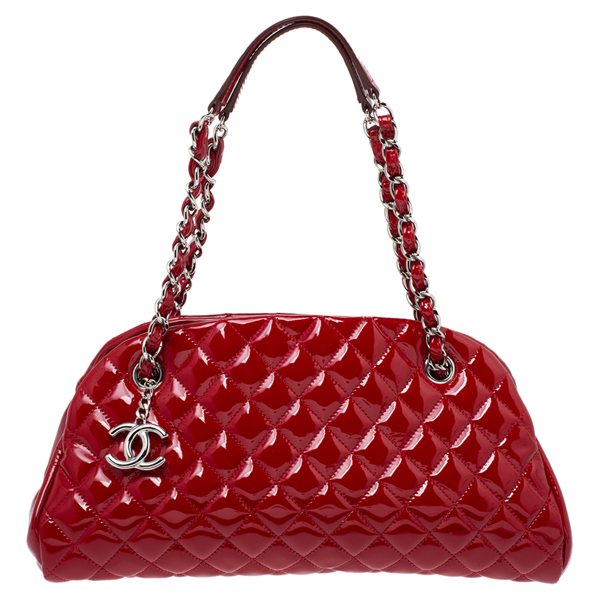 Pre-owned Chanel Red Quilted Patent Leather Just Mademoiselle Bowler Bag