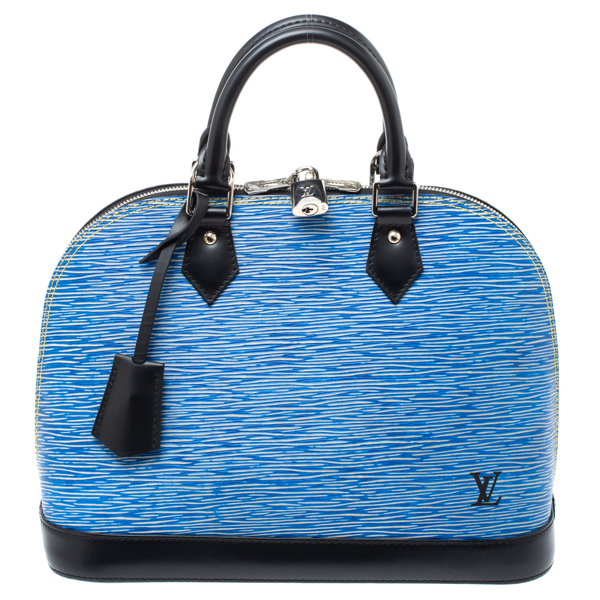 Pre-owned Louis Vuitton Light Denim Epi Leather Alma Pm Bag In Blue
