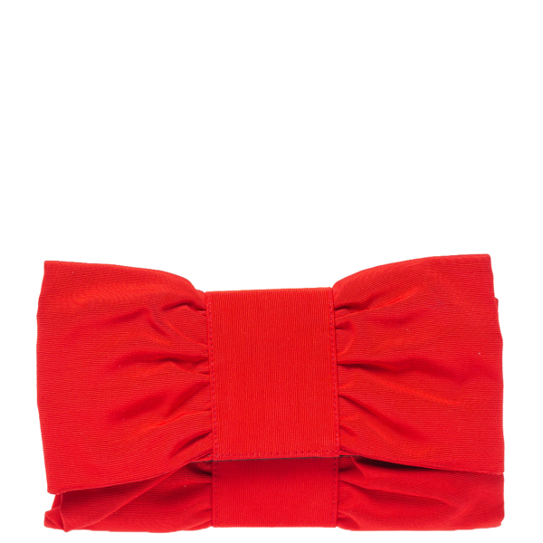 Pre-owned Furla Red Canvas Bow Clutch