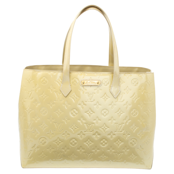 Pre-owned Louis Vuitton Vert Impression Monogram Vernis Wilshire Mm Bag In Yellow