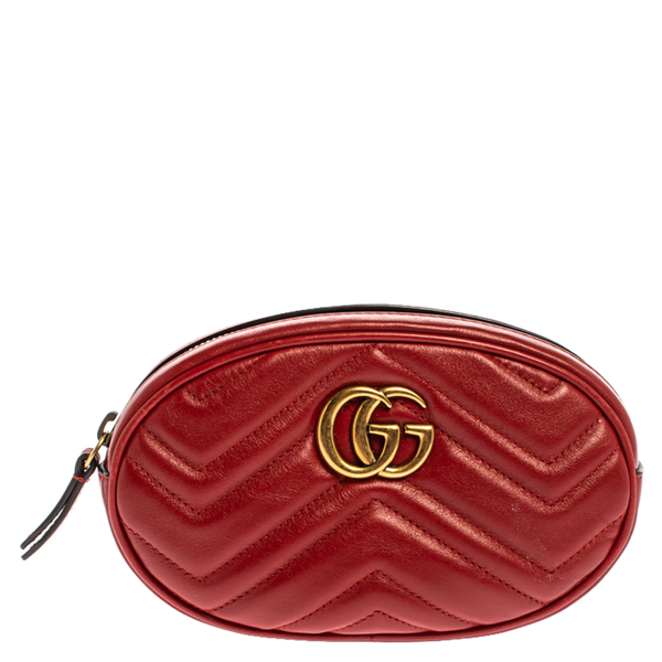 Pre-owned Gucci Red Matelassé Leather Gg Marmont Belt Bag