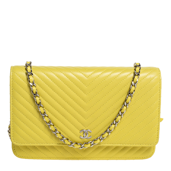 Pre-owned Chanel Yellow Chevron Leather Wallet On Chain