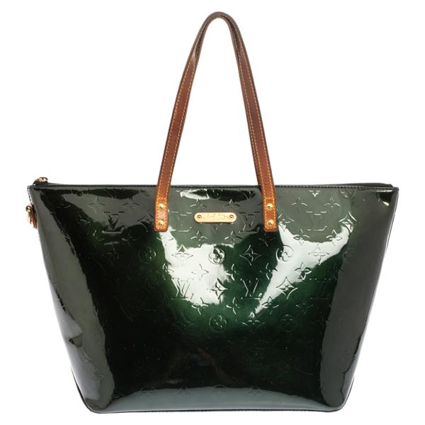Pre-owned Louis Vuitton Blue Nuit Monogram Vernis Bellevue Gm Bag In Green