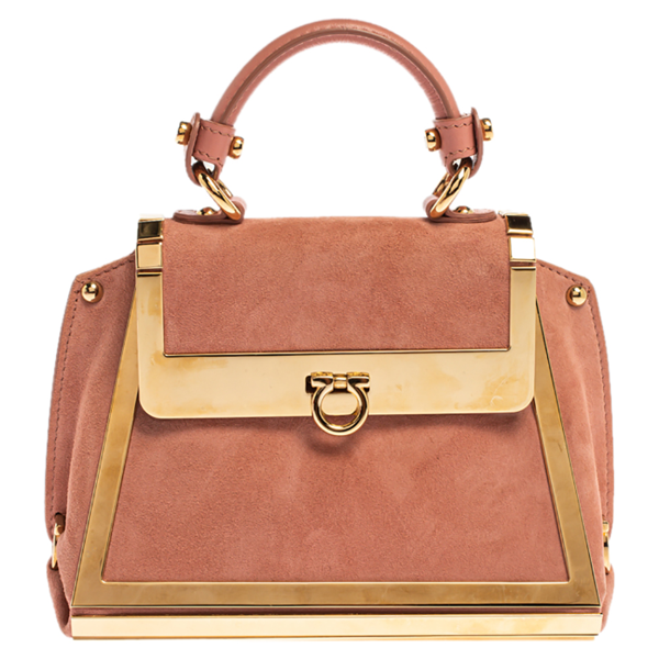 Pre-owned Salvatore Ferragamo Pink Suede And Metal Mini Sofia Top Handle Bag