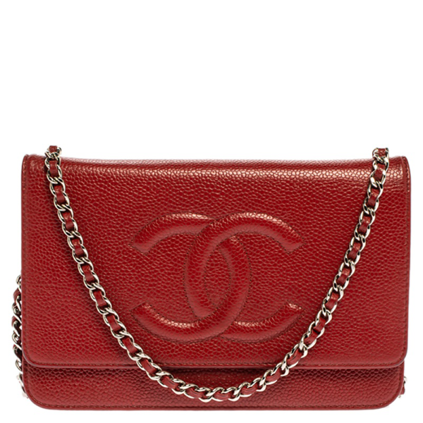 Pre-owned Chanel Red Caviar Leather Cc Timeless Wallet On Chain