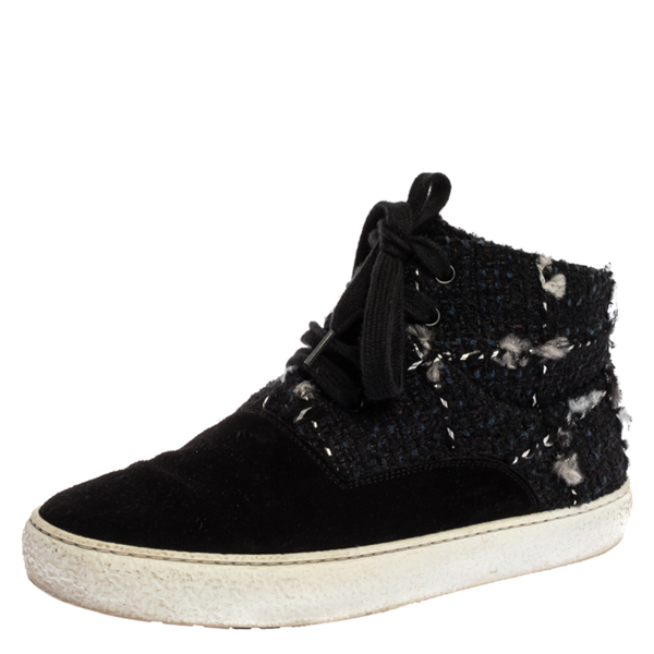 Pre-owned Chanel Black Tweed Fabric And Suede Leather High Top Sneakers Size 39