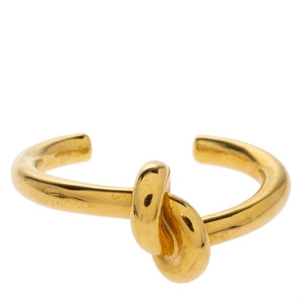 Pre-owned Celine Céline Gold Tone Thick Knot Open Cuff Bracelet L