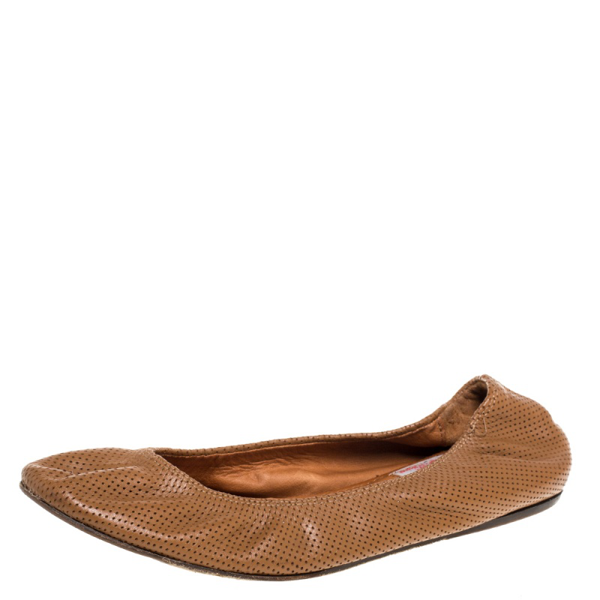 Pre-owned Lanvin Brown Perforated Leather Scrunch Ballet Flats Size 38