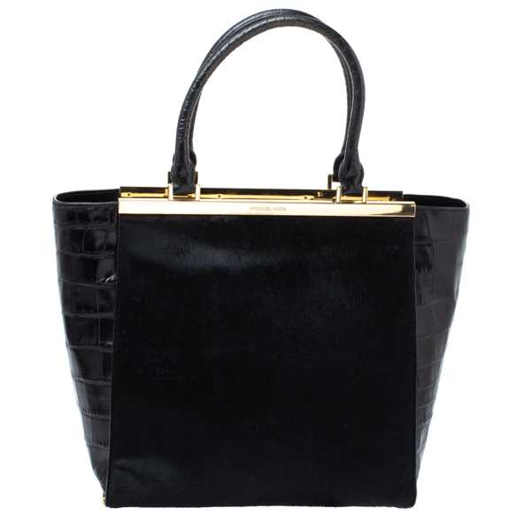 Pre-owned Michael Michael Kors Black Calf Hair And Croc Embossed Leather Large Lana Tote