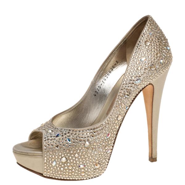 Pre-owned Gina Gold Leather And Crystal Embellished Satin Platform Pumps Size 38