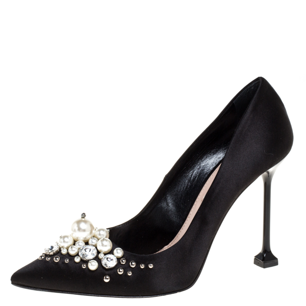 Pre-owned Miu Miu Black Satin Crystal And Pearl Embellished Pointed Toe Pumps Size 38