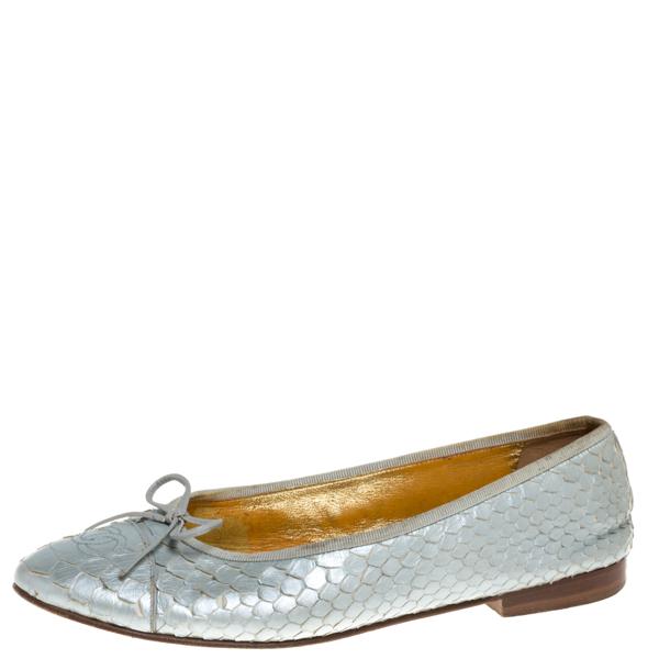 Pre-owned Chanel Metallic Silver Python Cc Bow Cap Toe Ballet Flats Size 40