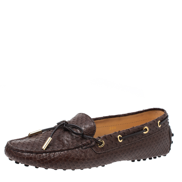 Pre-owned Tod's Brown Python Leather Bow Slip On Loafers Size 38.5