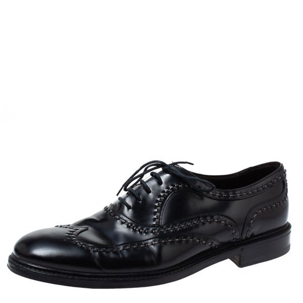 Pre-owned Bottega Veneta Black Leather Lace-up Oxfords Size 45