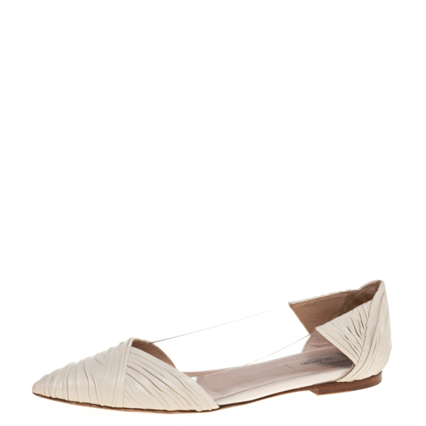 Pre-owned Valentino Garavani Garavani White Pvc And Pleated Leather Pointed Toe Ballet Flats Size 40
