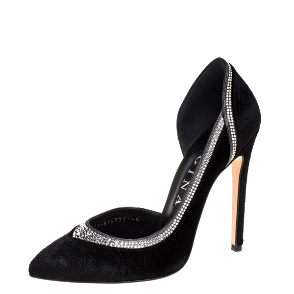 Pre-owned Gina Black Paisley Print Velvet Tia Crystal Studded D'orsay Pointed Toe Pumps Size 39