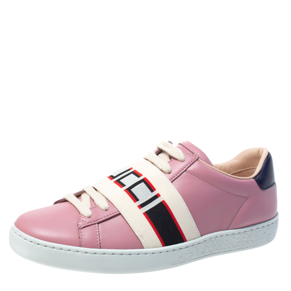 Pre-owned Gucci Stripe Low Top Sneakers Size 35 In Pink
