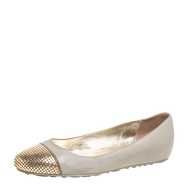 Pre-owned Jimmy Choo Beige Leather Waine Ballet Flats Size 37.5
