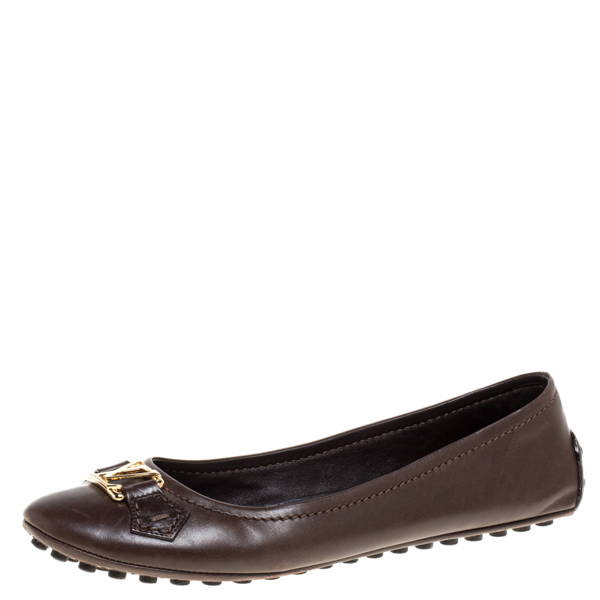Pre-owned Louis Vuitton Brown Leather Oxford Ballet Flats Size 39.5