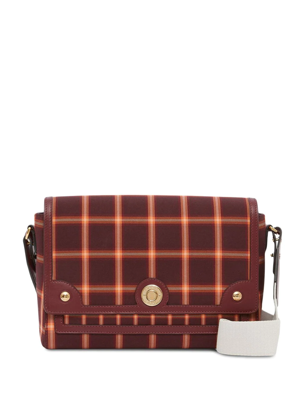 Burberry Tartan Technical Cotton Note Crossbody Bag In Red