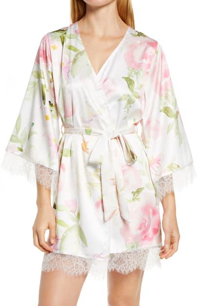Homebodii Fleur Floral Print Short Satin Robe In Pink Floral