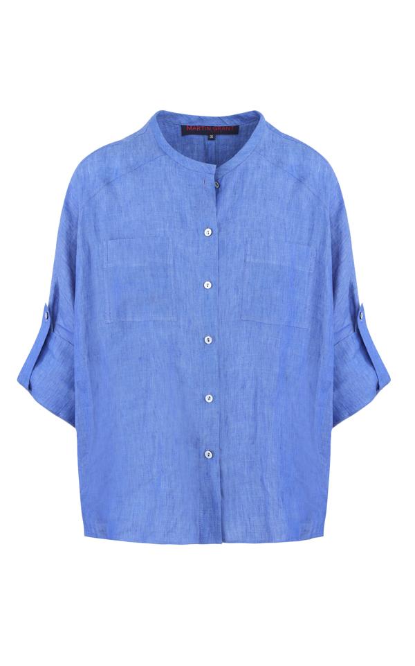 Martin Grant Women's Linen Batwing Shirt In Blue