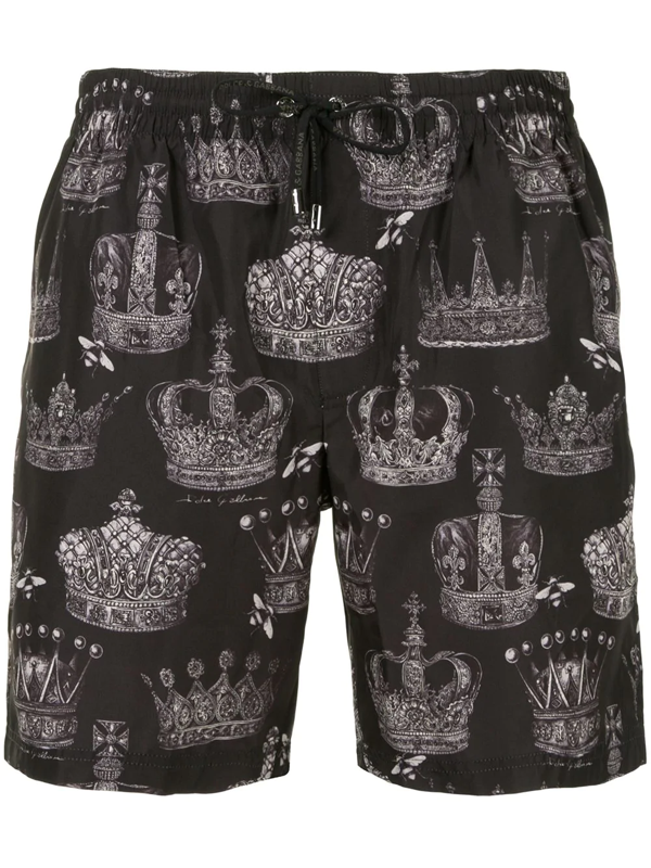 Dolce & Gabbana Mid-length Swim Trunks With Crown Print In Black
