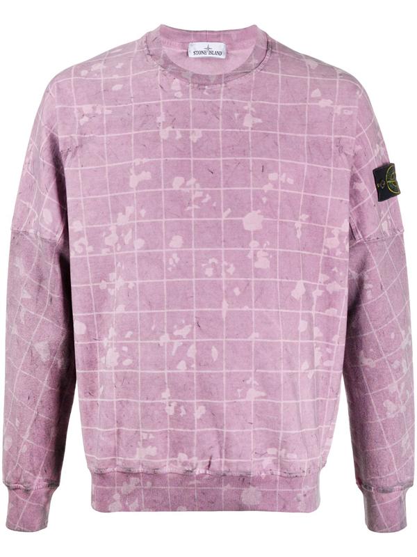 Stone Island Men's Laser Camo Crewneck Sweatshirt In Purple