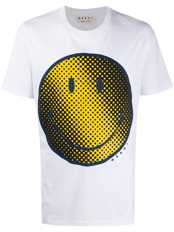Marni Smiley Face Graphic Cotton Tee In White