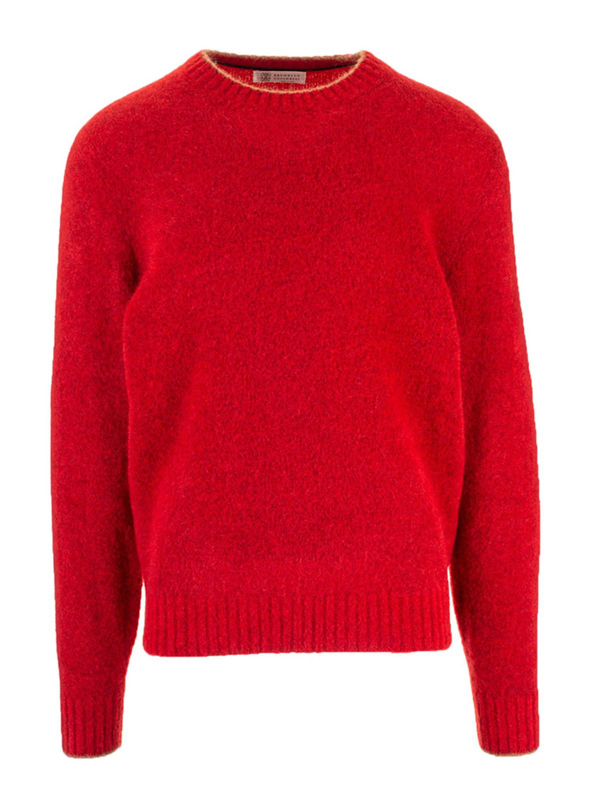 Brunello Cucinelli Cashmere And Wool Pullover In Red