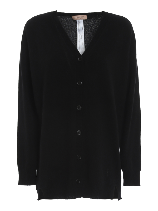 Twinset Cashmere Wool Blend Cardigan In Black