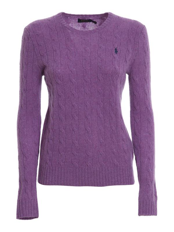 Polo Ralph Lauren Wool Cashmere Blend Round Neck Sweater In Purple