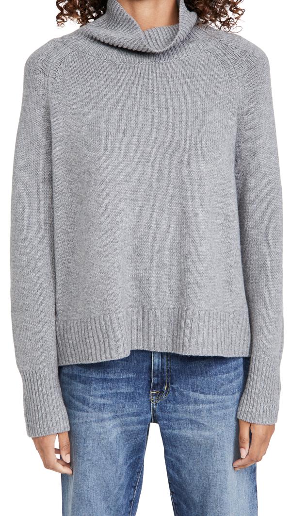 Nili Lotan Lanie Cashmere Turtleneck Sweater In Heather Grey