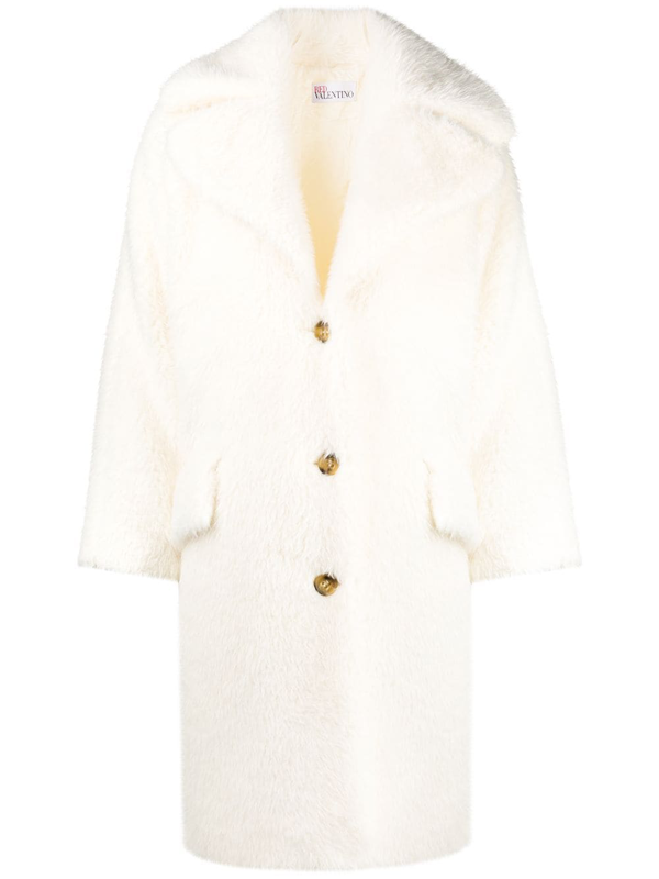 Red Valentino Ivory Faux Shearling Coat In Neutrals