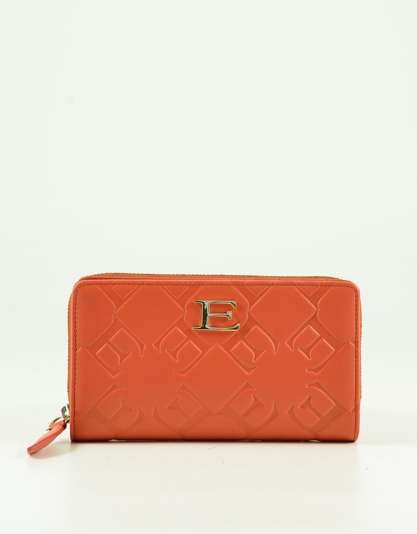 Ermanno Scervino Mandarin Embossed Eco-leather Women's Zip-around Continental Wallet In Orange