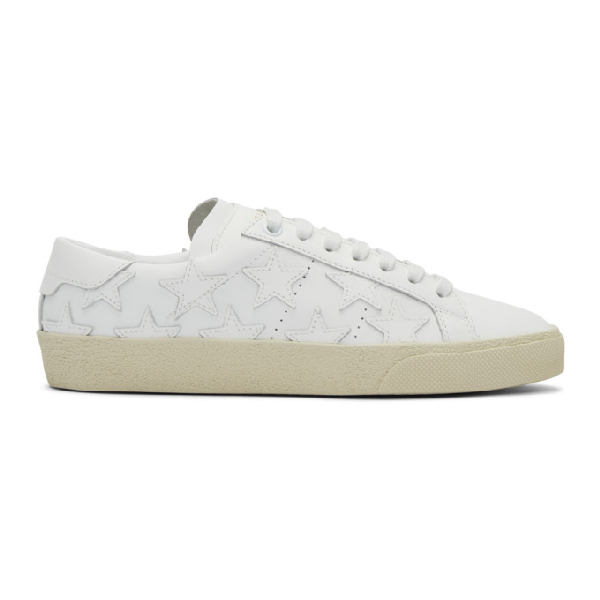 Saint Laurent Court Classic Heart-Patch Low-Top Leather Trainers In 9030 Optic White