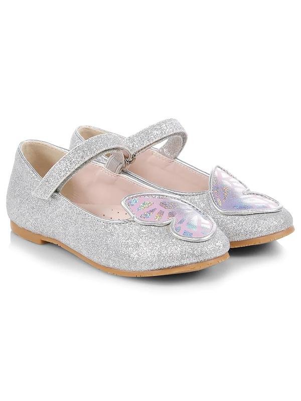 Sophia Webster Babies' Girls' Butterfly Glitter Mary Jane Flats - Walker, Toddler In Silver Pastel