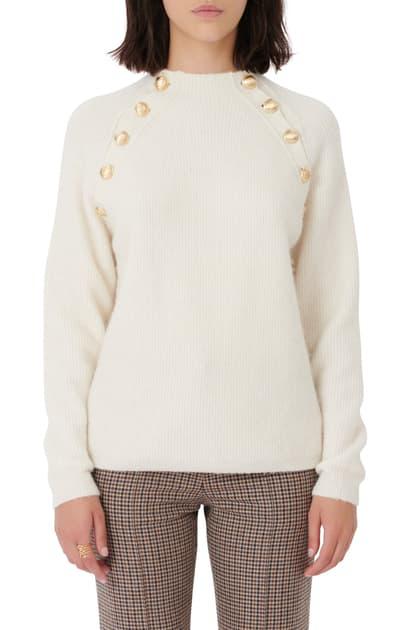 Maje Marnet Gold Tone Button Sweater In Ecru