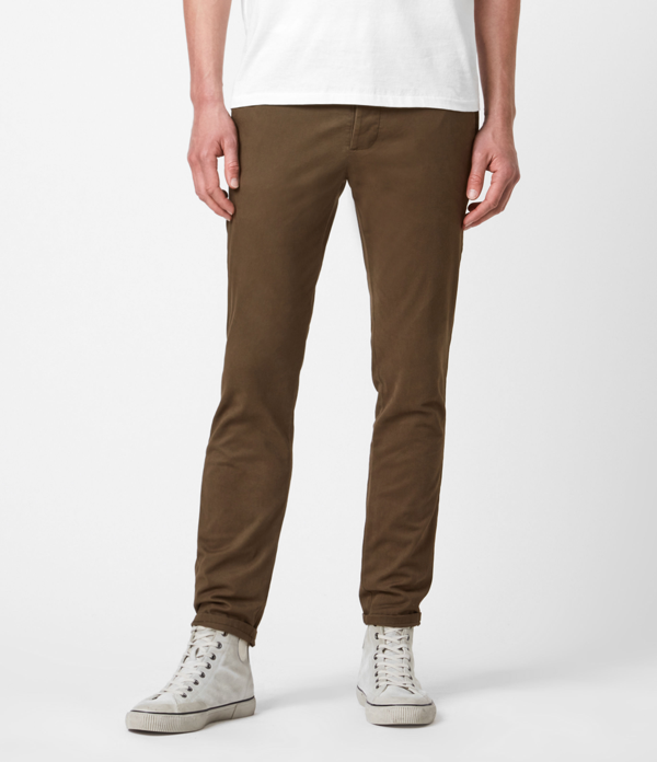 Allsaints Park Cotton Blend Skinny Chino Pants In Cedar Brown