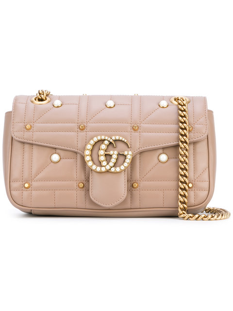 544e6e66bf0 Gucci Gg Marmont Matelasse Imitation Pearl Leather Shoulder Bag - White In  Nude