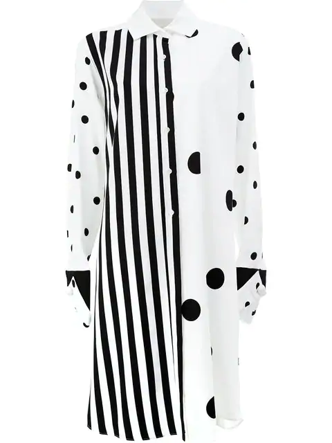 cac89e627228 Monse Striped & Polka-Dot Long-Sleeve Tunic, White/Black | ModeSens