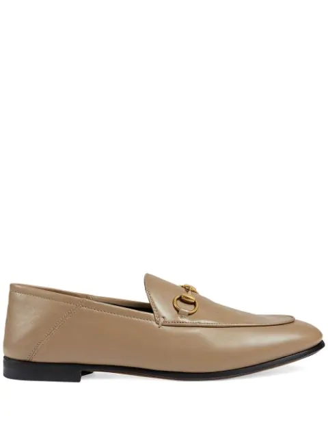 Gucci Women's Brixton Leather Horsebit Loafers In Beige