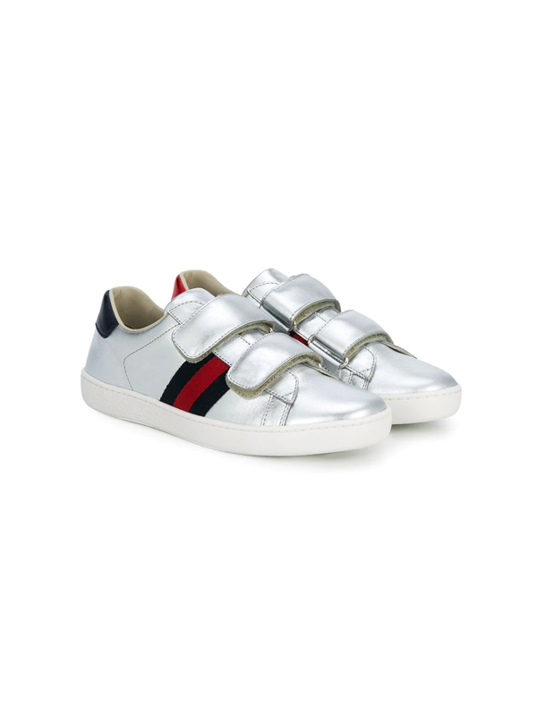 Gucci Kids' Web Trim Touch Strap Sneakers In Metallic