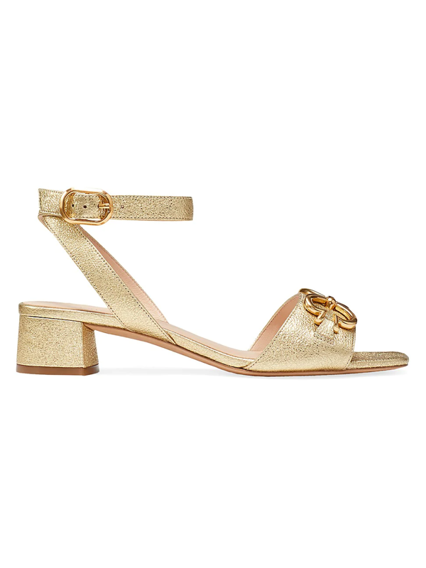 Kate Spade Women's Lagoon Heart Chain Metallic Leather Sandals In Pale Gold