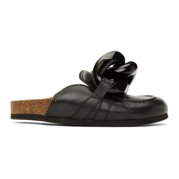 Jw Anderson Chain-trimmed Leather Slippers In 999 Black