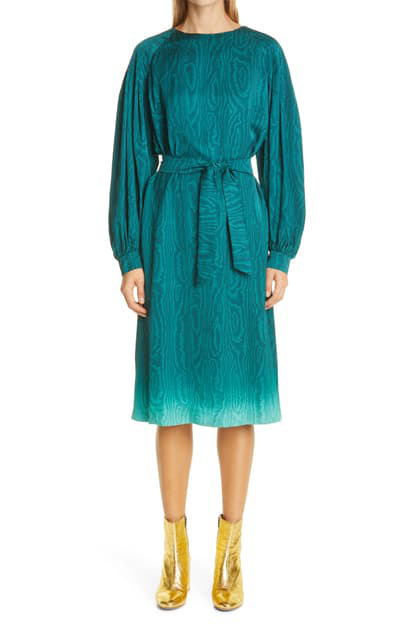 Dries Van Noten Long Sleeve Moire Midi Dress In Turquoise
